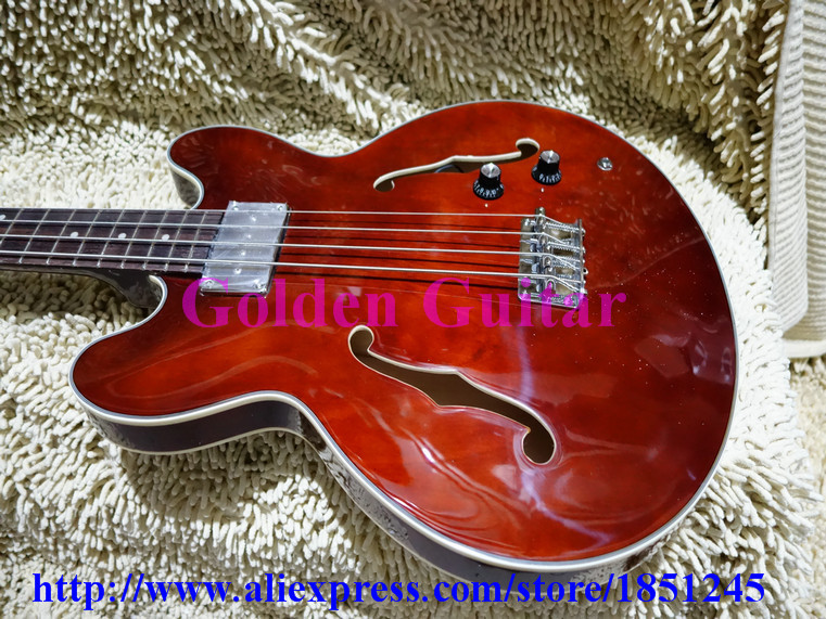 Brown Semi Hollow 335 Bass Guitar Best High Quality Newest Free Shipping(China (Mainland))