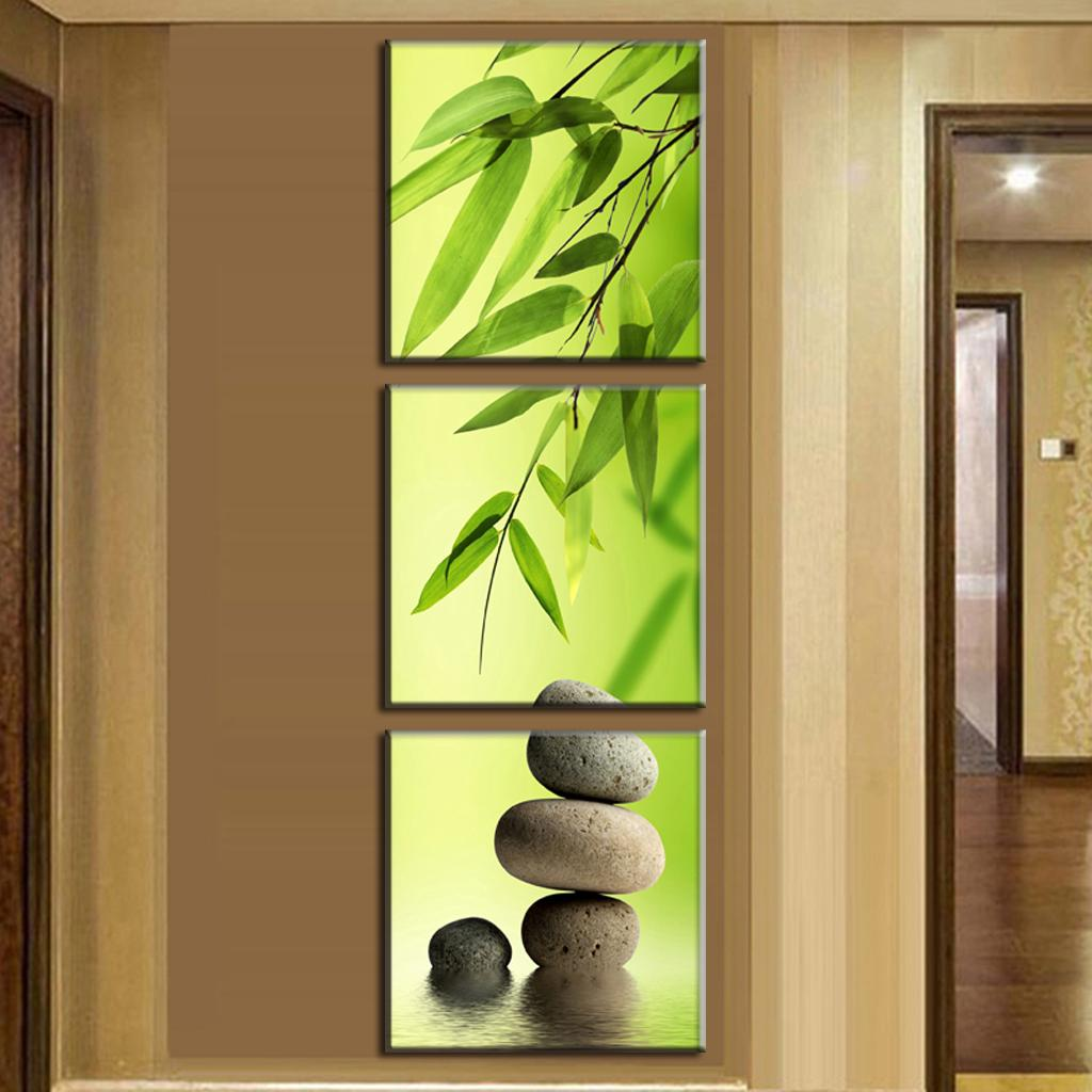 3 Pcs/Set Artist Canvas Still Life painting Bamboo and Stone vertical forms Canvas Prints Wall Pictures for Living Room Picture(China (Mainland))