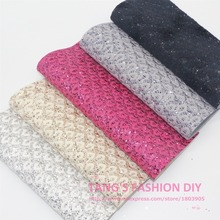 5PCS--NEW STYLE! 20X22CM High Quality DIY PU Lace Glittle leather synthetic leather per pcs (5 colors can choose)(China (Mainland))