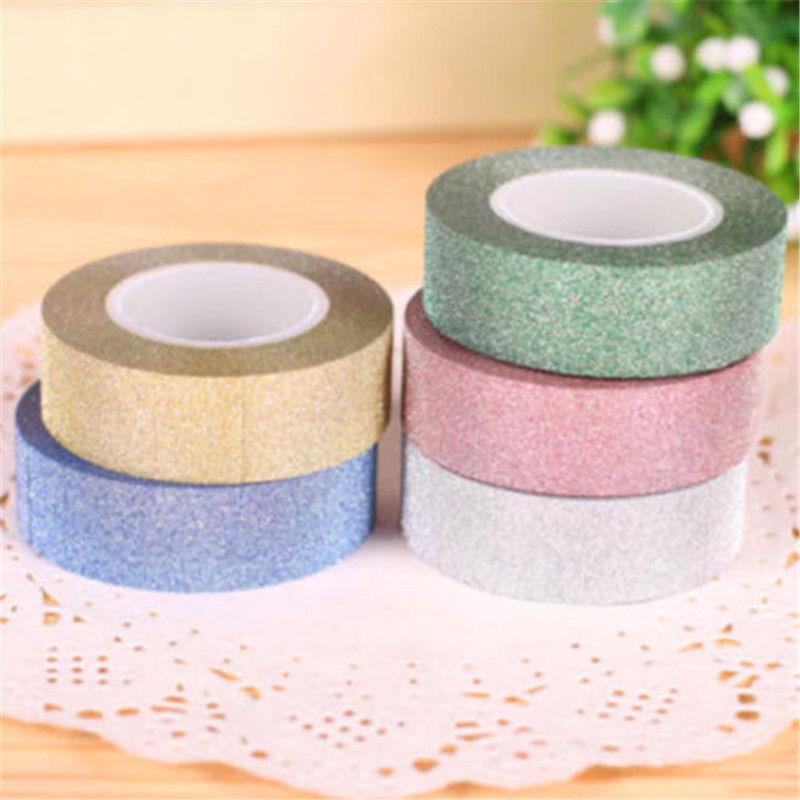 Гаджет  5m Craft Glitter Washi Tape Scrapbooking Decoration DIY Adhesive Paper Sticker None Офисные и Школьные принадлежности