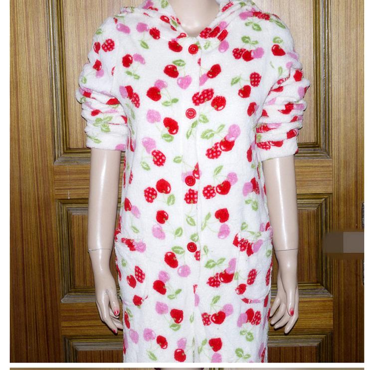 Women thickening coral fleece one piece sleepwear pants baby robe autumn winter lounge - fen he's store