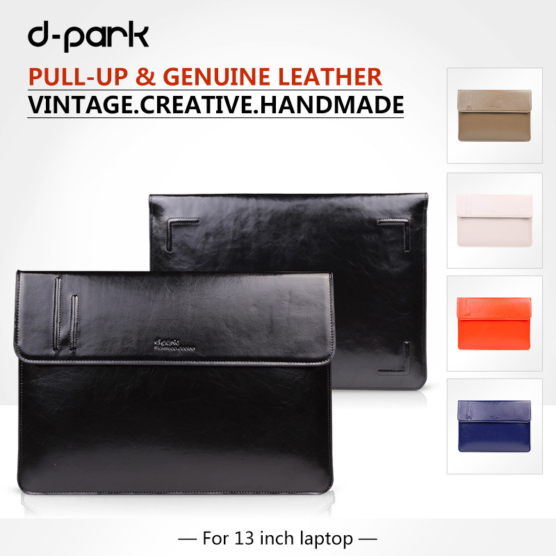 Free Shipping D-park  genuine cow leather cover sleeve laptop bag,laptop case for macbook Air 13 inch,Retina Pro 13,13.3<br><br>Aliexpress