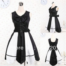 Freeshipping!Black Cotton SHORT Classic Gothic Lolita/victorian dress Civil War Southern Belle Halloween dresses V-960