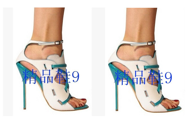 Sapato Feminino Laser-cut Leather Sandals Elegant patchwork party Shoes women Spring New Women Summer style