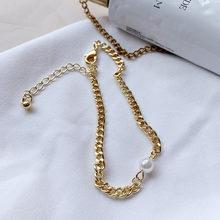 Huanzhi 2019 Baru Baroque Tidak Teratur Mutiara Imitasi Emas Logam Link Rantai Gelang untuk Wanita Gadis Musim Panas Pesta Perhiasan(China)