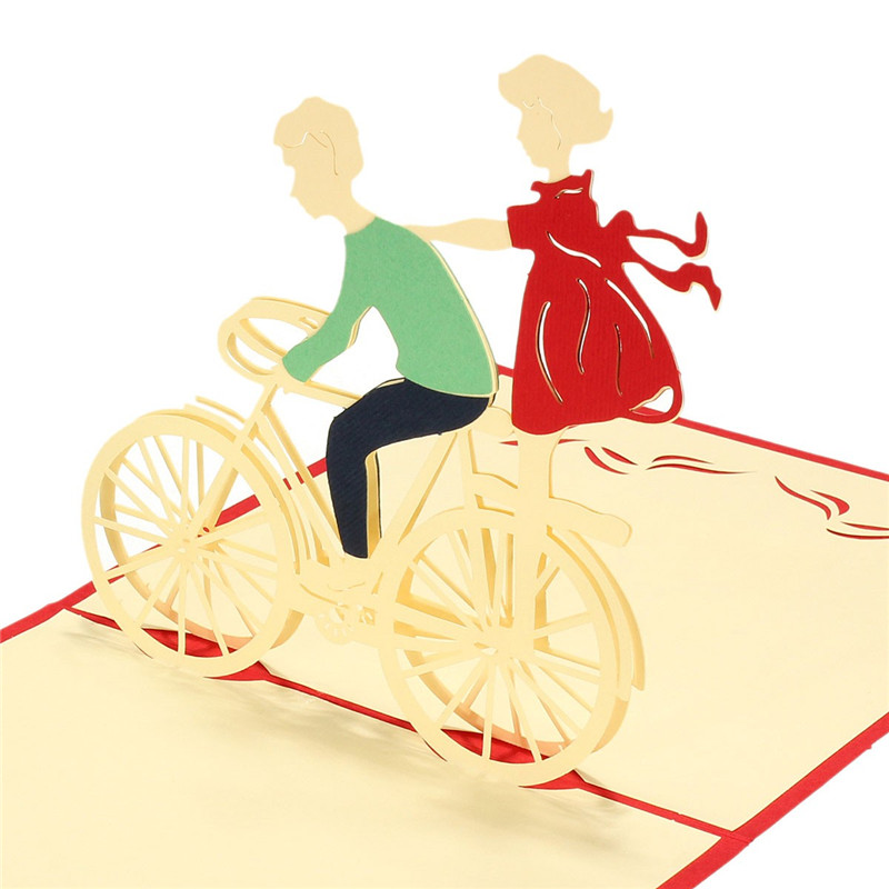 Romantic 3D Red Pop Up Invitation Party Handmade Bicycle Couple Paper Greeting Sweet Card Courtship Display Gift for Lover(China (Mainland))