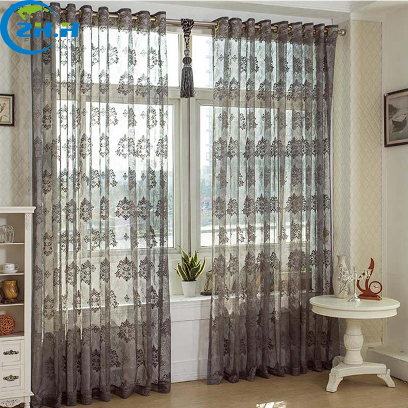ZHH Single Panel Gray Hollow Out Embroidered Bud Silk Tulle Voile Curtain For Bedroom Window Decoraion Sheer Curtain Gauze Shade(China (Mainland))