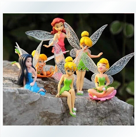 Free Shipping Anime Cartoon Tinkerbell Fairy PVC Action Figure Toys Girls Dolls Gift 6pcs/set(China (Mainland))