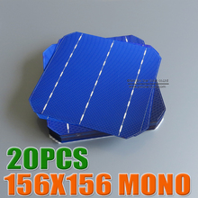 20pcs 4.4 W 18% - 18.2%efficiency 156 Mono monocrystalline Solar Cell 6x6 for Diy Solar Panels(China (Mainland))