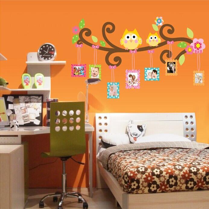 Wall Stickers Cartoon Owl Photo Frame Design Kids Bedroom