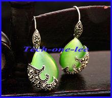 Free Shipping 1pair Tibetan Silver and Water-Drop-Shaped Green Opal Cat's Eye Pendants Drop Earrings(China (Mainland))