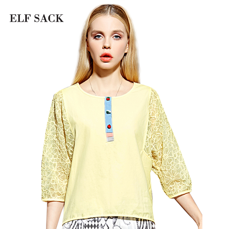 Elf SACK globalsources spring female organza embroidery patchwork block color o-neck cotton t-shirt female short design pОдежда и ак�е��уары<br><br><br>Aliexpress