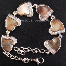 """Free shipping Fashion Jewelry  Natural Mother of Pearl Shell Heart Bracelet 7-8.5"""" 1Pcs  G6479(China (Mainland))"""