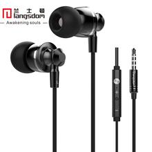 เดิมLangsdom M300โลหะซูเปอร์เบสในหูหูฟังควบคุมระดับเสียงที่มีไมค์หูฟังสำหรับip hone Sony Xiaomi Mp3 PC 3.5มิลลิเมตร