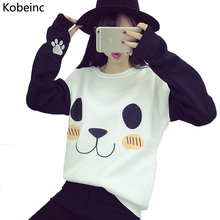 New College Wind Women Hoodies Fashion Cartoon Panda Sweatshirts Casual Printed Mixed Color Harajuku Tracksuits Female Sudaderas(China (Mainland))