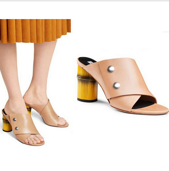 Acne Studio Bamboo Thick Heels Nude Slippers Open Toe Rivet Comfortable Women Summer Unique Sandals Ladies Famous Brand Shoes<br><br>Aliexpress