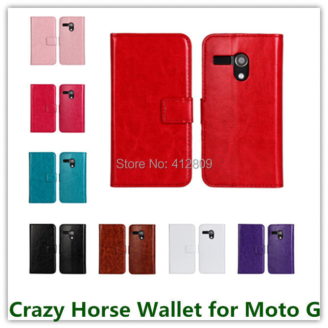 1PCS Luxury Crazy Horse Leather Wallet with Slot Stand Credit Card Holer Covers for Motorola Moto G DVX Hot Cellphone Bags Sales(China (Mainland))
