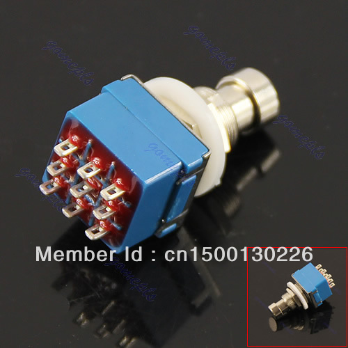 E93+Free Shipping Blue 3PDT 9-Pin Stomp Foot Pedal Switch True Bypass(China (Mainland))