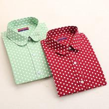 Hot New Women Blouses Long Sleeve Shirt Polka Dot Blusas Femininas 2015 Cotton Shirt Red Women Tops Camisas Femininas Tops