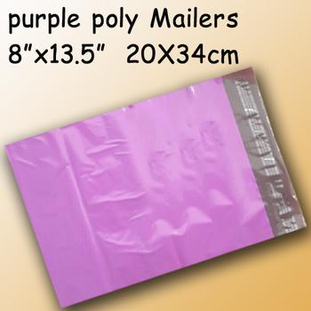 "Purple poly mailer/poly bag/ poly envelope 8""x13.5"" 20x34mm 100pcs/lot"