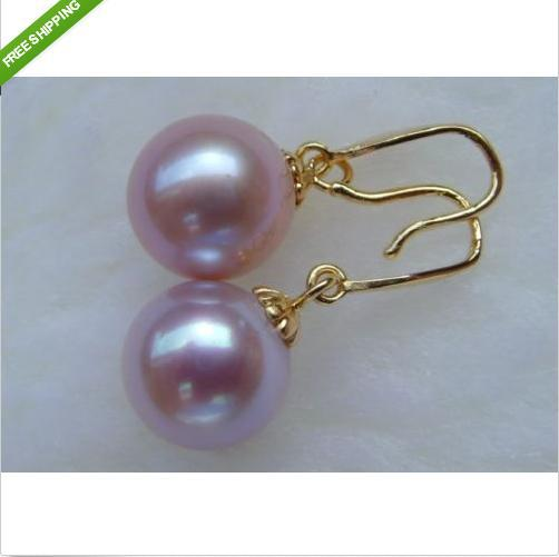 noblest savageness 9-10MM round AAA++ south sea PURPLE pearl earrings 14KG - gairong hou's store