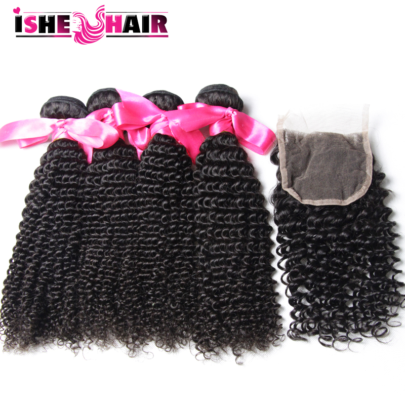 Unprocessed Malaysian Curly Hair With Closure 4 Bundles 6A Malaysian Afro Kinky Curly Hair Virgin Malaysian Hair With Closure