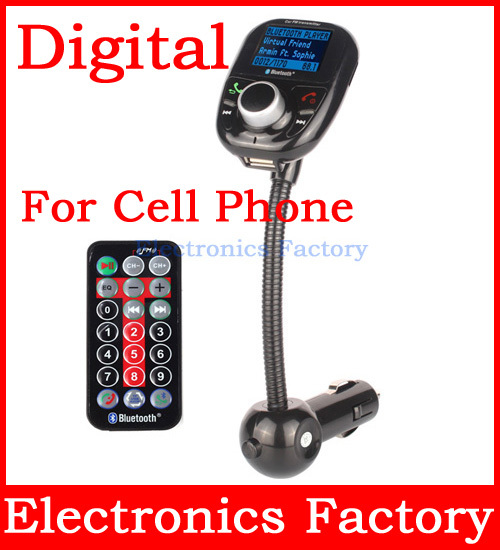LCD Car Wireless A2DP Bluetooth V3.0 Handsfree FM Transmitter 3.5MM Cell PhoneTF SD USB Mp3 Player+voltage Meter+Charger+Remote(China (Mainland))