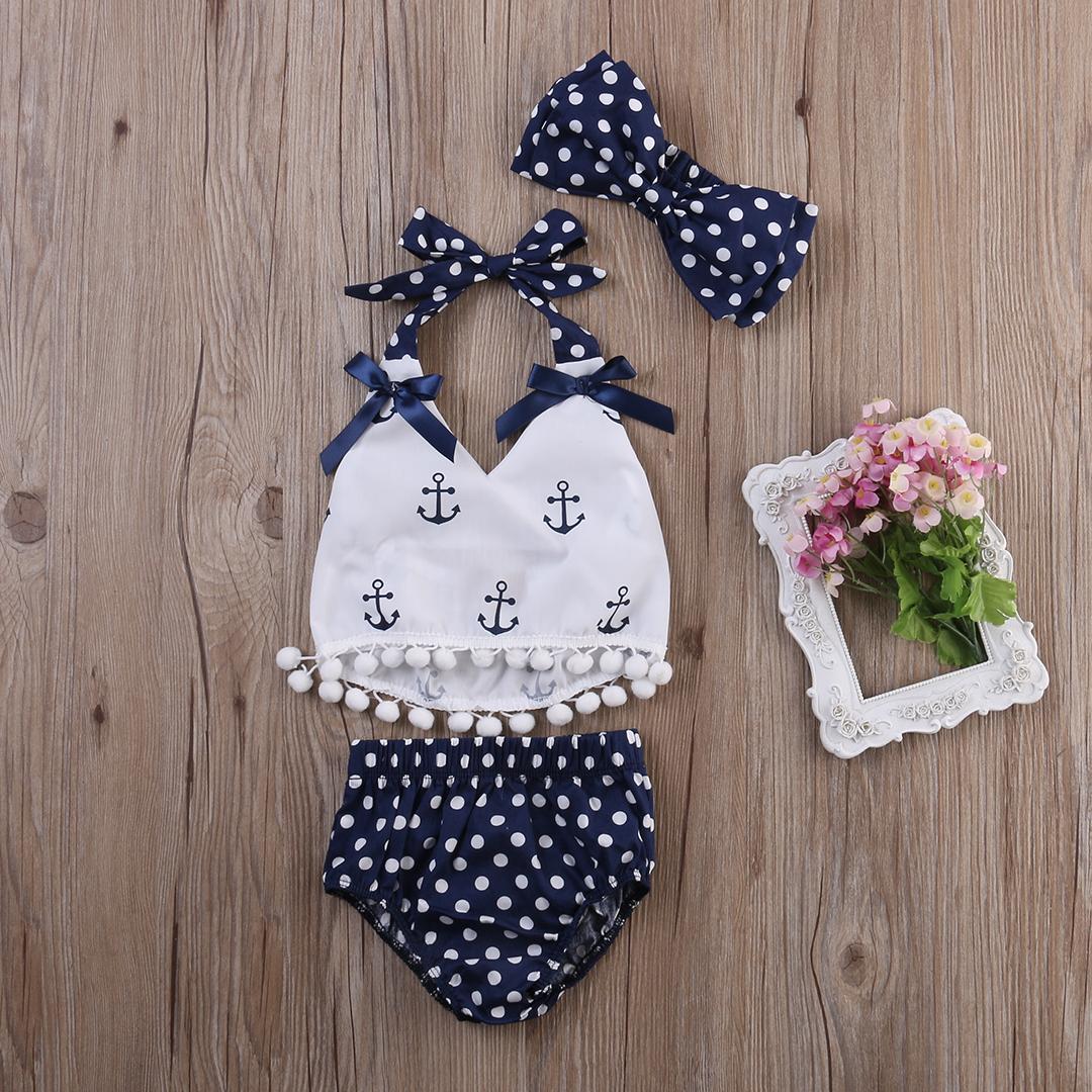New Baby Girls Clothes Anchor Tassel Tops Navy Polka Dot Briefs 3pcs Outfits Set