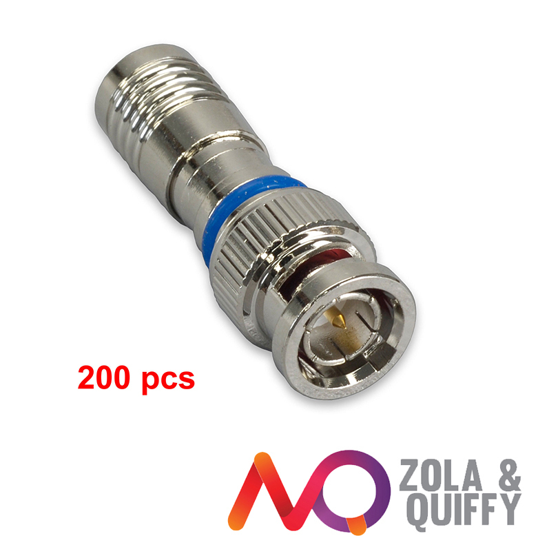 200pcs BNC COMPRESSION COAX CONNECTOR RG59 CABLE CCTV MALE(China (Mainland))