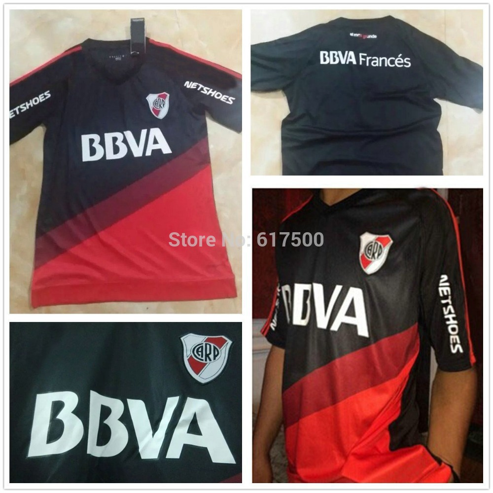 3A+++ thailand quality 2015/16 River Plate soccer jersey Argentina Club football uniform shirt free shipping(China (Mainland))