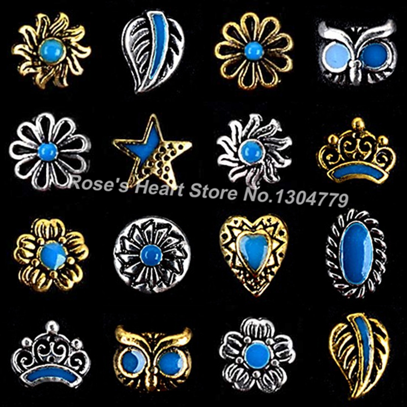 2017 20 pieces metal jewelry nails accessoires nail supplies tools 3d nail art decorations retro design gold silver new arrivals(China (Mainland))