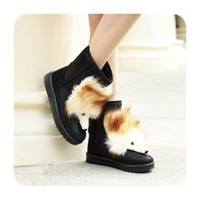 Más el tamaño 35-40 moda elegante dama de short boots winter warm piel de zorro mujeres botines brillo cálido de la nieve botas zapatos de invierno(China (Mainland))