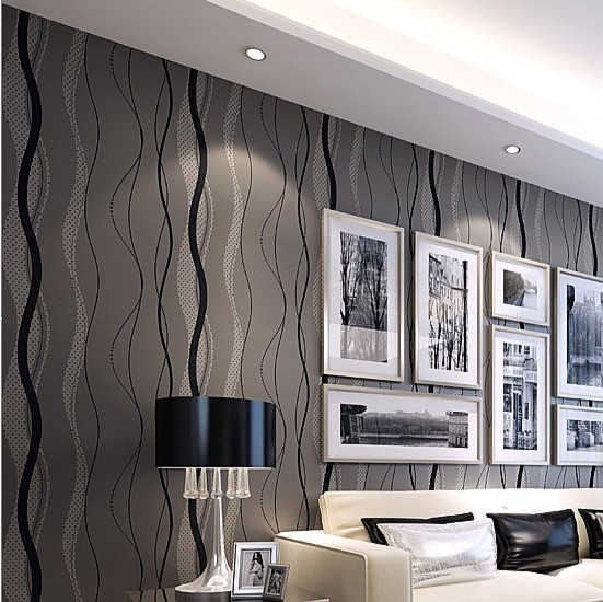 Wave grey lines stripes modern wallpaper non woven - Wallpaper one wall in living room ...