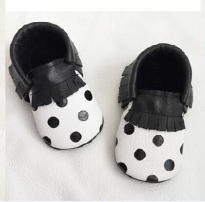 Free fedex wholesale 100pairs/lot  polka dots  Genuine Leather Baby shoes Tassel Toddler Baby moccasins First Walkers Shoes<br>
