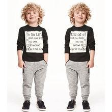 2pcs Baby Kids Boys Black Cotton long sleeve Shirt Sweater + Elastic Waist Long Pants Outfit