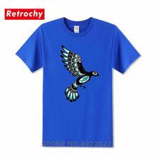 Teal Blue And Black Haida Spirit Flying Bird T-Shirt Birthday Present New T Shirt Homme Cute Animal Printed Men's Hipster Tshirt(China)