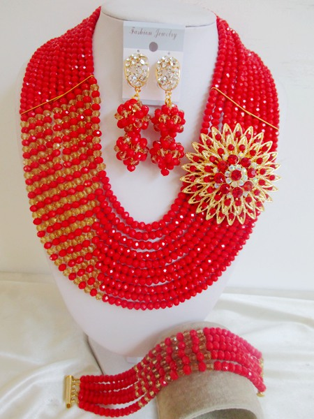 Fashion African beads jewelry set red Crystal beads bride jewelry nigerian wedding african beads jewelry Set GG-62<br><br>Aliexpress