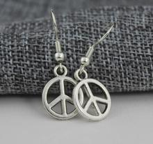 New fashion jewelry accessories vintag silver plated small peace dangle earring best gift for girl's wholesale E217