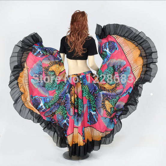 720 Degree Printed BellyDance Tribal Maxi Belly Dance Gypsy Costume Clothes Women Long Gypsy Skirts(China (Mainland))