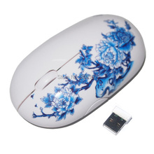 free shipping china Blue and white china porcelain gift 2.4GHZ wireless mouse personality gift wireless mouse