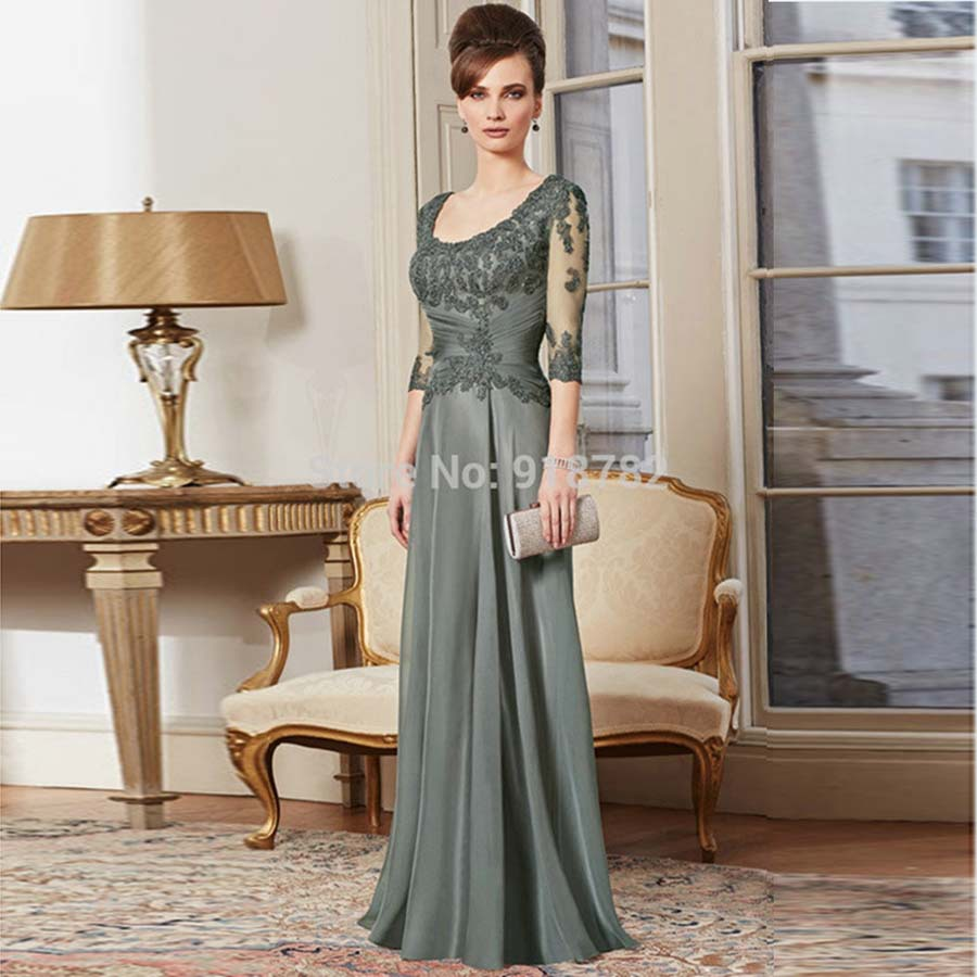 Women's Clothing A Line 3/4 Sleeve Long Lace Prom Evening Floor Length Gown Mother Of The Bride Dresses Long Even Parti Gowns(China (Mainland))