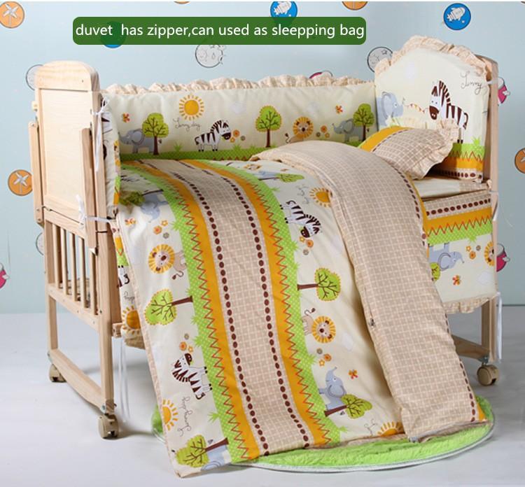 Фотография Promotion! 10PCS baby bedding baby crib bedding Sets cotton bed around all-inclusive (bumper+matress+pillow+duvet)