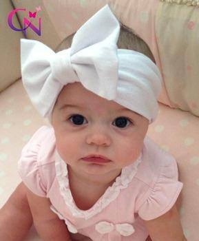 Новинка ребенок твердых хлопок волосы бант повязка на голову малыша ручной стретч ...