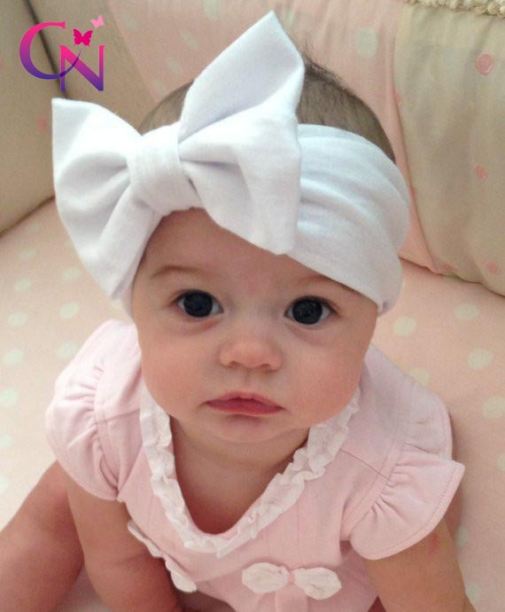 New Fashion Baby Solid Cotton Hair Bow Headband Toddler Handmade Stretch Headwraps With Bow Boutique Cute Hair Accessories(China (Mainland))