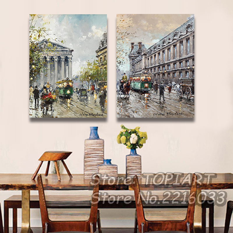 2 Pieces Wall Art Modern Living Room Decor Abstract Paris Street Four Seasons Oil Painting Print CANVAS Pictures ArtsNo FRAMES(China (Mainland))