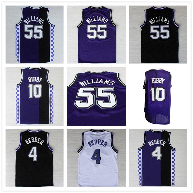 Jason Williams #55 Chris Webber #4 Mike Bibby #10 Throwback Basketball Jersey, Men's Retro Basketball Jersey(China (Mainland))