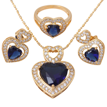 Delicate blue Heart 18k k gold plated Crystal Jewelry Sets Earrings Necklace Ring sz #6.5 #7 #8 #9 Fashion JS285A - Jos fan's store