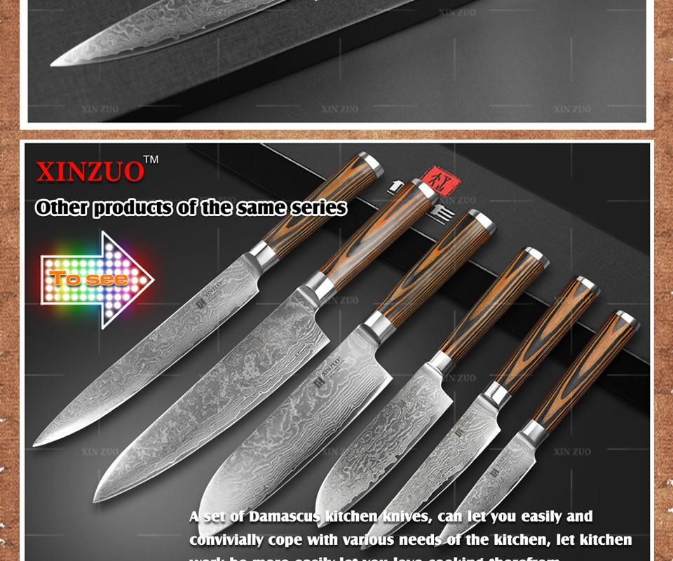 Buy XINZUO 5 pcs Kitchen knives set Japanese sharp chef cleaver paring knives Damascus kitchen knife Color wood handle free shipping cheap