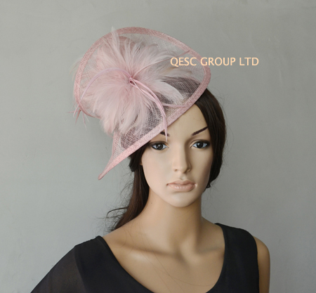 Blush pink sinamay feather fascinator hat for wedding,ascot races,kentucky derby,melbourne cup,party.(China (Mainland))