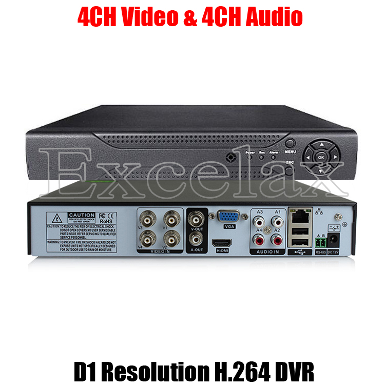 4CH D1 Resolution H.264 Standalone DVR 4-Channel Digital Video Recorder w/ HDMI BNC RCA Port P2P Cloud for Analog CCTV Camera(China (Mainland))